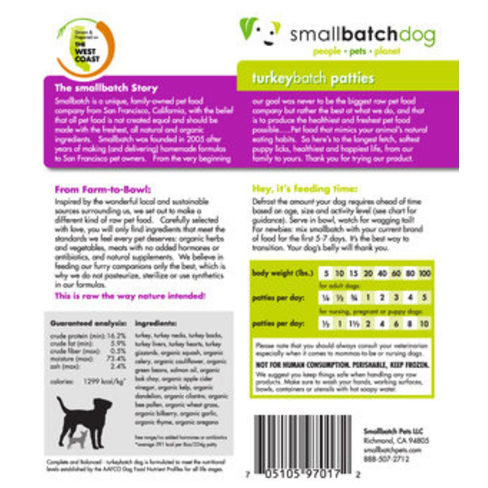 Small Batch Small Batch Frozen Raw TurkeyBatch Patties Dog 6#