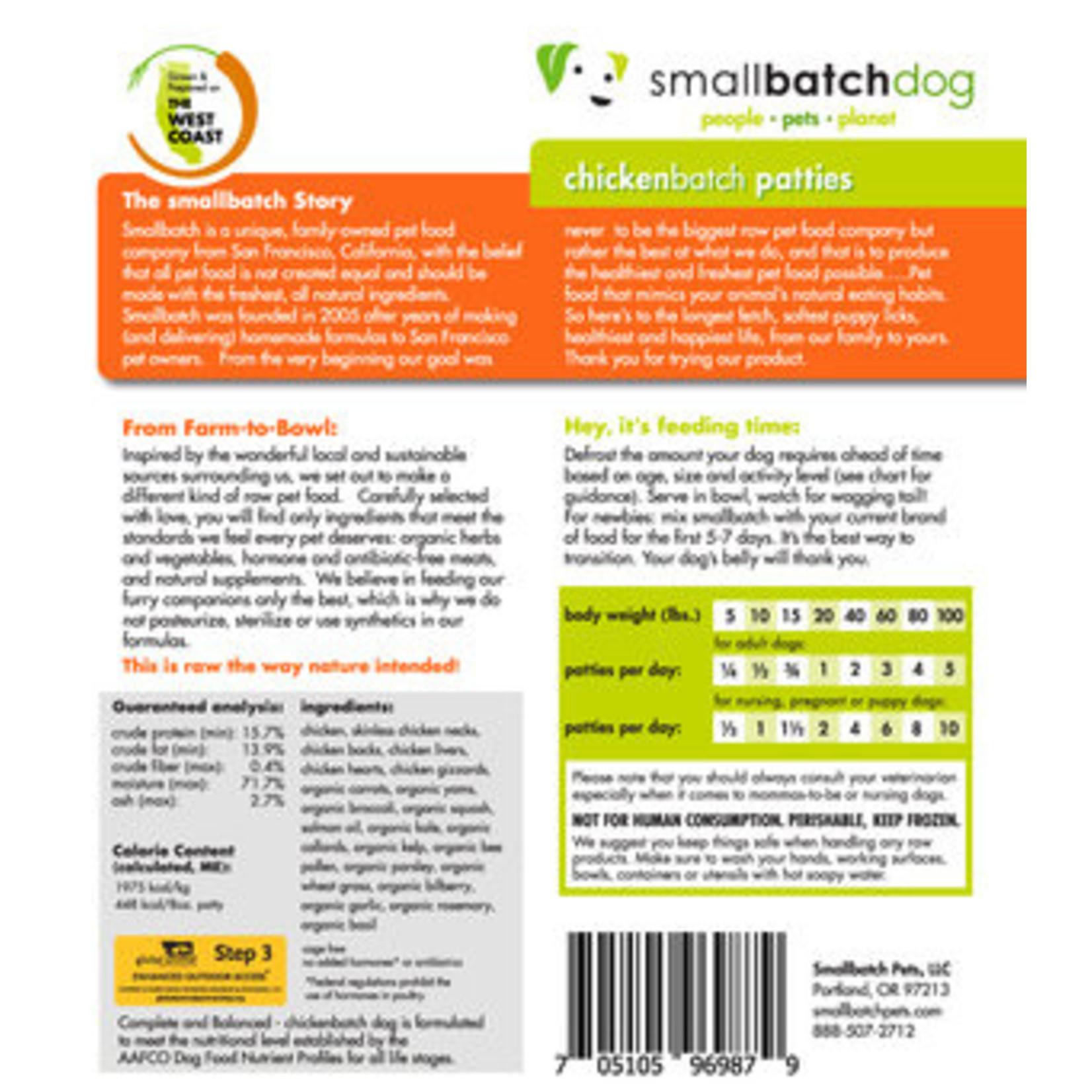 Small Batch Small Batch Frozen Raw ChickenBatch Patties Dog 6#