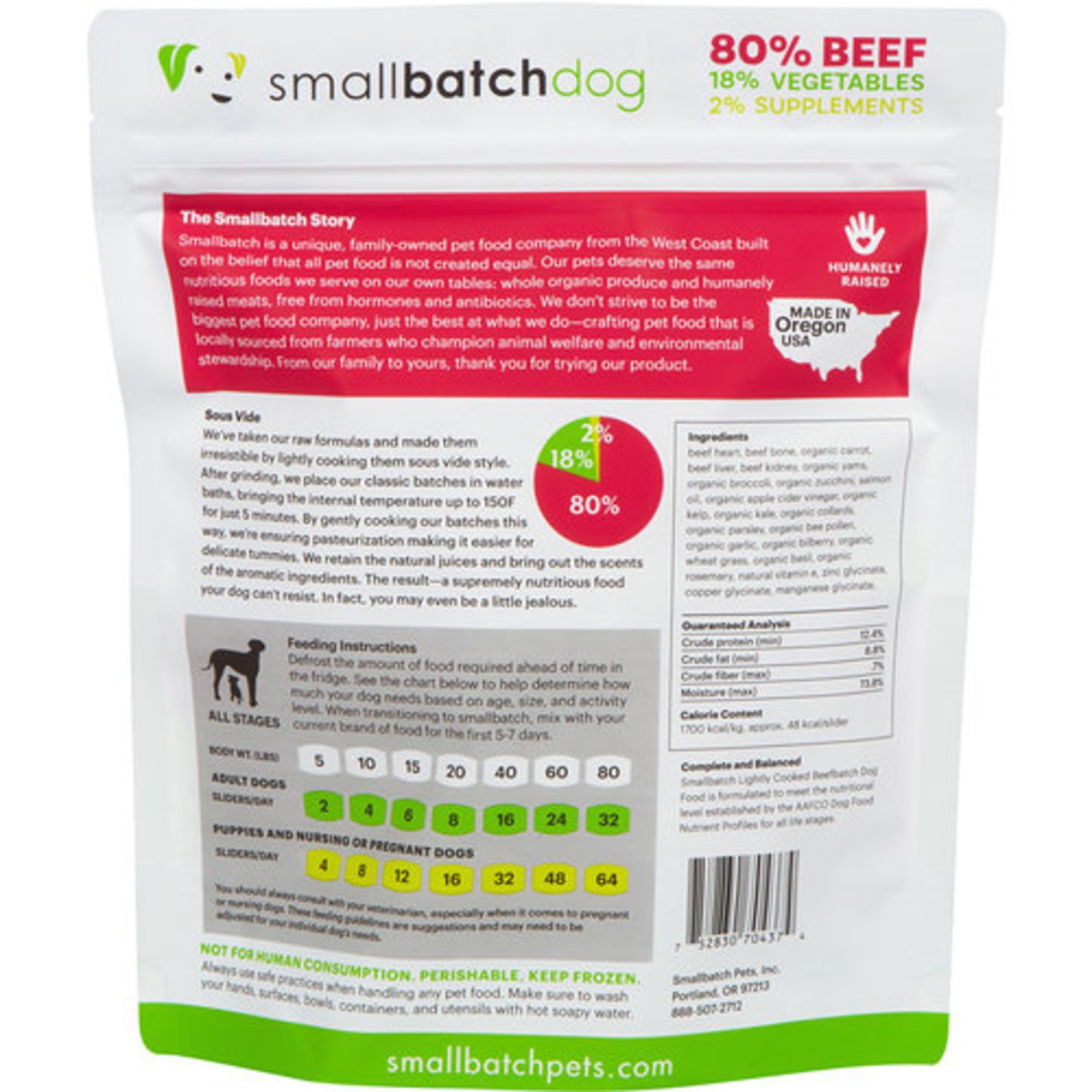 Small Batch Small Batch Frozen Lightly Cooked BeefBatch Dog Food