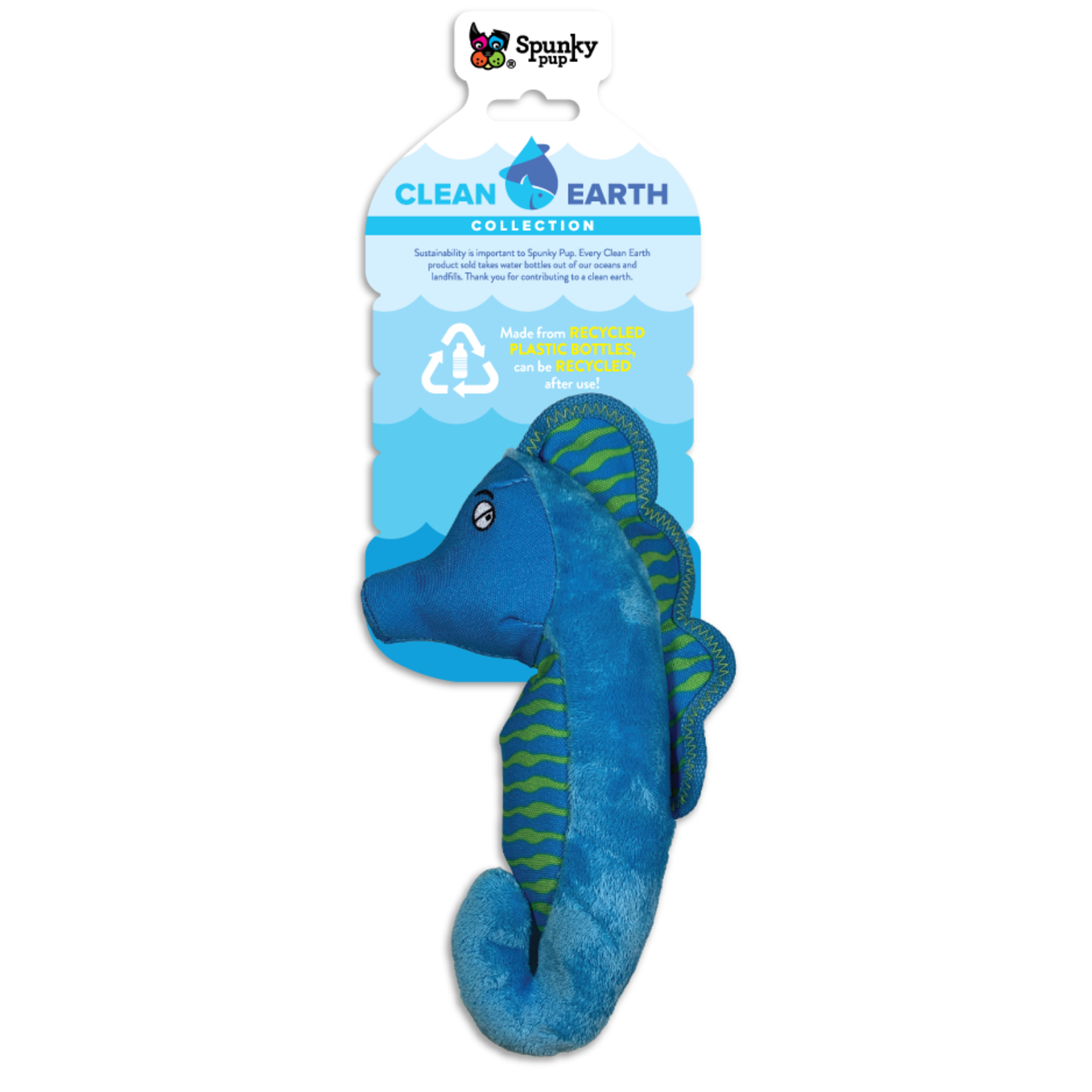 Spunky Pup Spunkypup Clean Earth Seahorse Dog Toy Sm