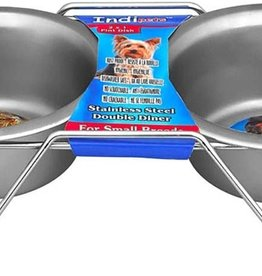 Indipets Double Diner Stainless w/ Wire 2qt