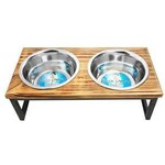 Indipets Double Diner Stainless w/ Wood 2qt