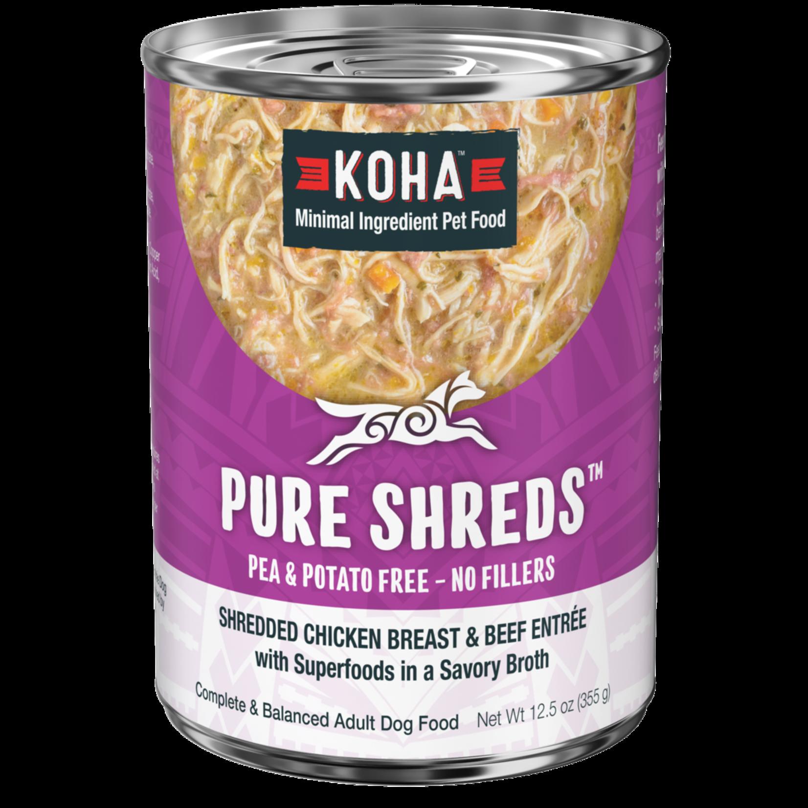 Koha KOHA Pure Shreds Chicken & Beef Dog Can 12.5oz