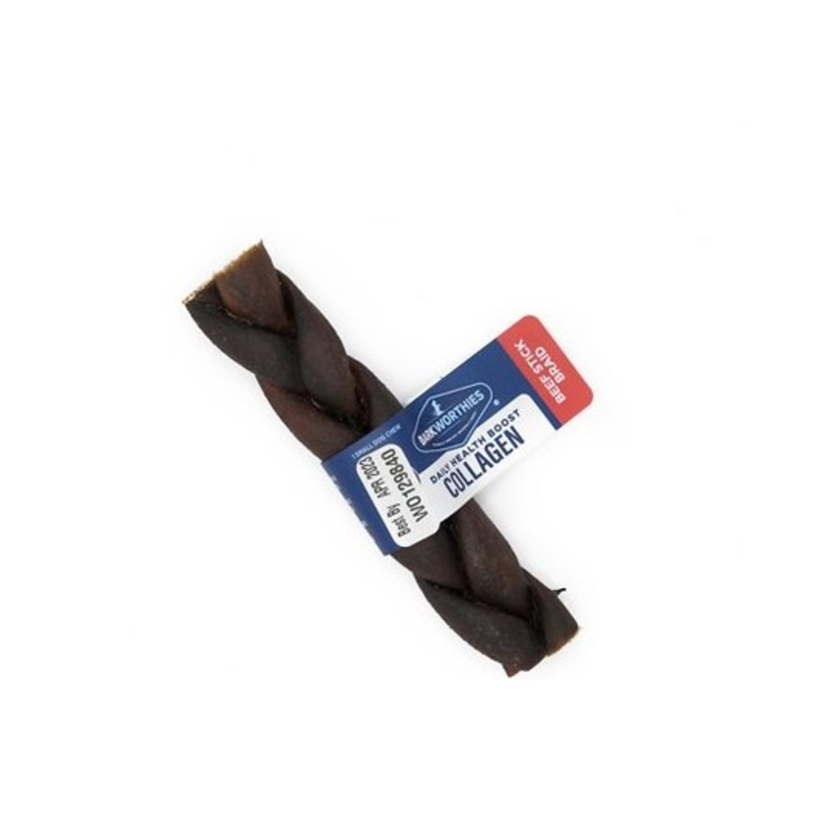 """Barkworthies BARKWORTHIES Collagen Beef Chew Braided Stick 5"""" Single"""