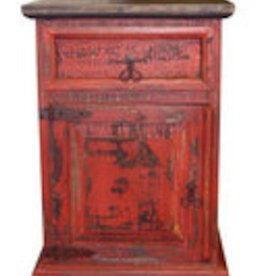 Rustic Heritage Red Scrape Mansion Nightstand