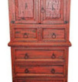 Rustic Heritage Red Scraped Mansion Chest