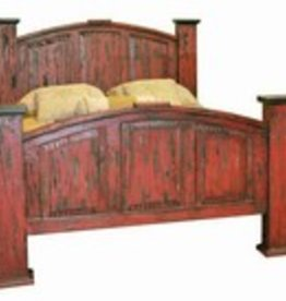 Rustic Heritage Red Scraped Queen Mansion Bed