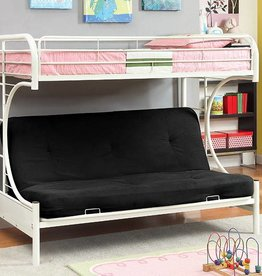 FOA Twin Futon Metal Bunk in White