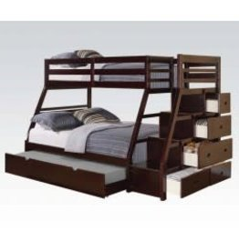 Acme Jason T/F Espresso Bunkbed with Stairs and Trundle