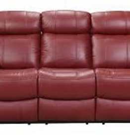 Leather Italian Joplin Power Red Sofa