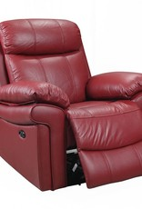 Leather Italian Joplin Power Red Recliner