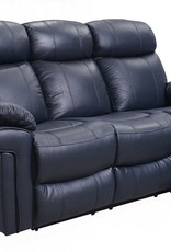 Leather Italian Joplin Power Blue Sofa