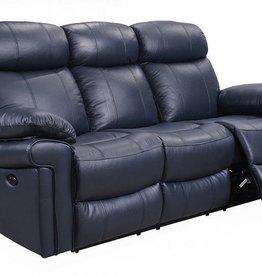 Leather Italian Joplin Power Blue Sofa