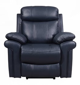 Leather Italian Joplin Power Blue Recliner
