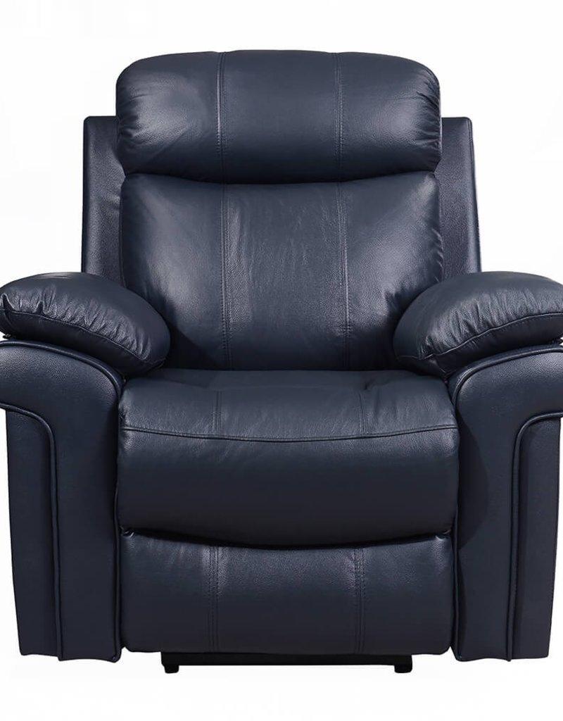 Leather Italian Joplin Power Blue Recliner