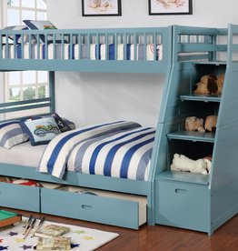 MYCO Merlin Twin Full Blue Staircase Bunkbed