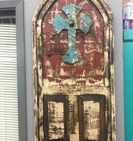 Mexican Decor Wood Door With Cross