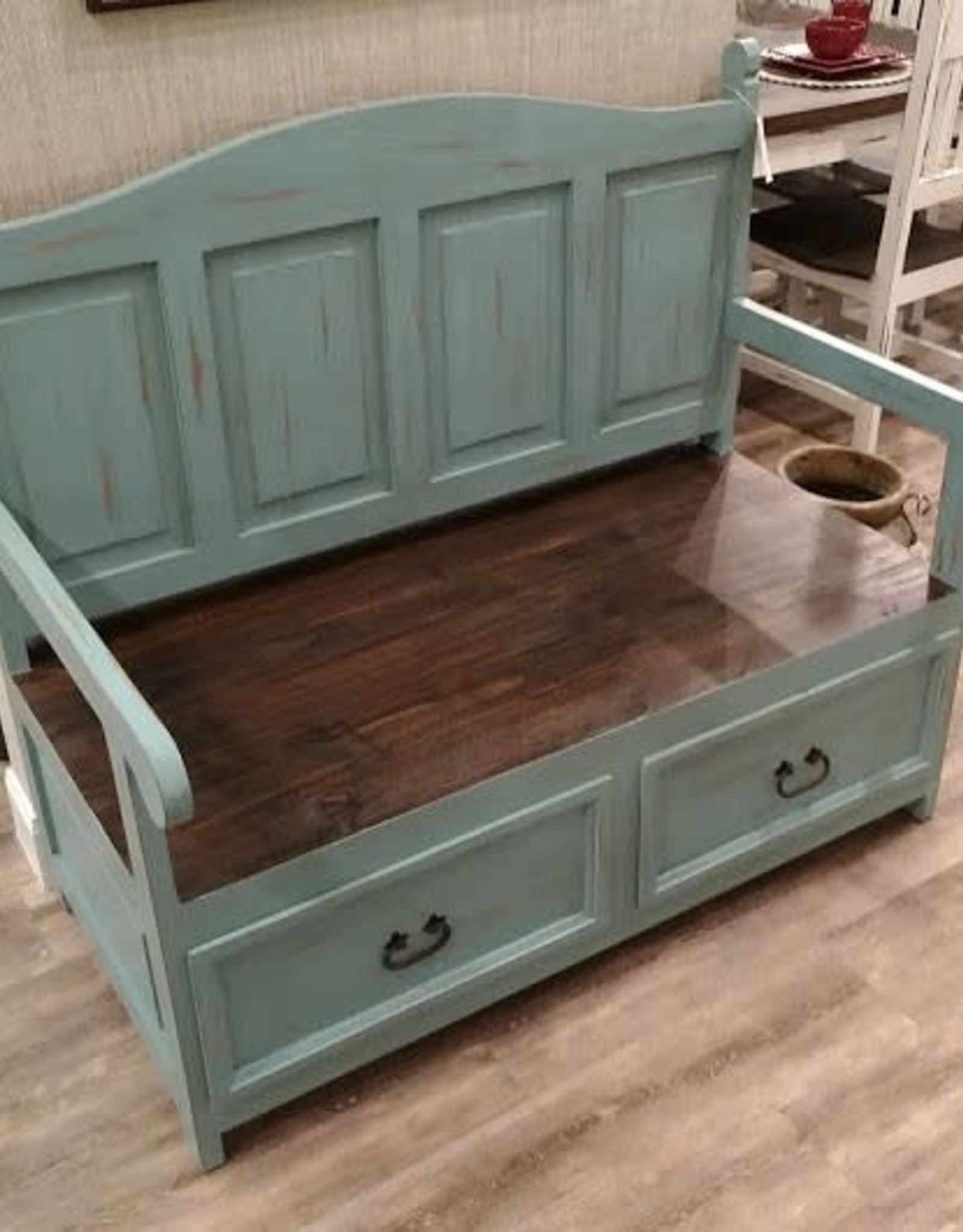 Texas Rustic AB-BAN 28 Church Bench Blue