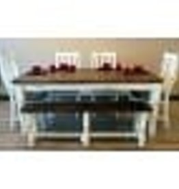 Texas Rustic Antique White Table w/ 6 Chair
