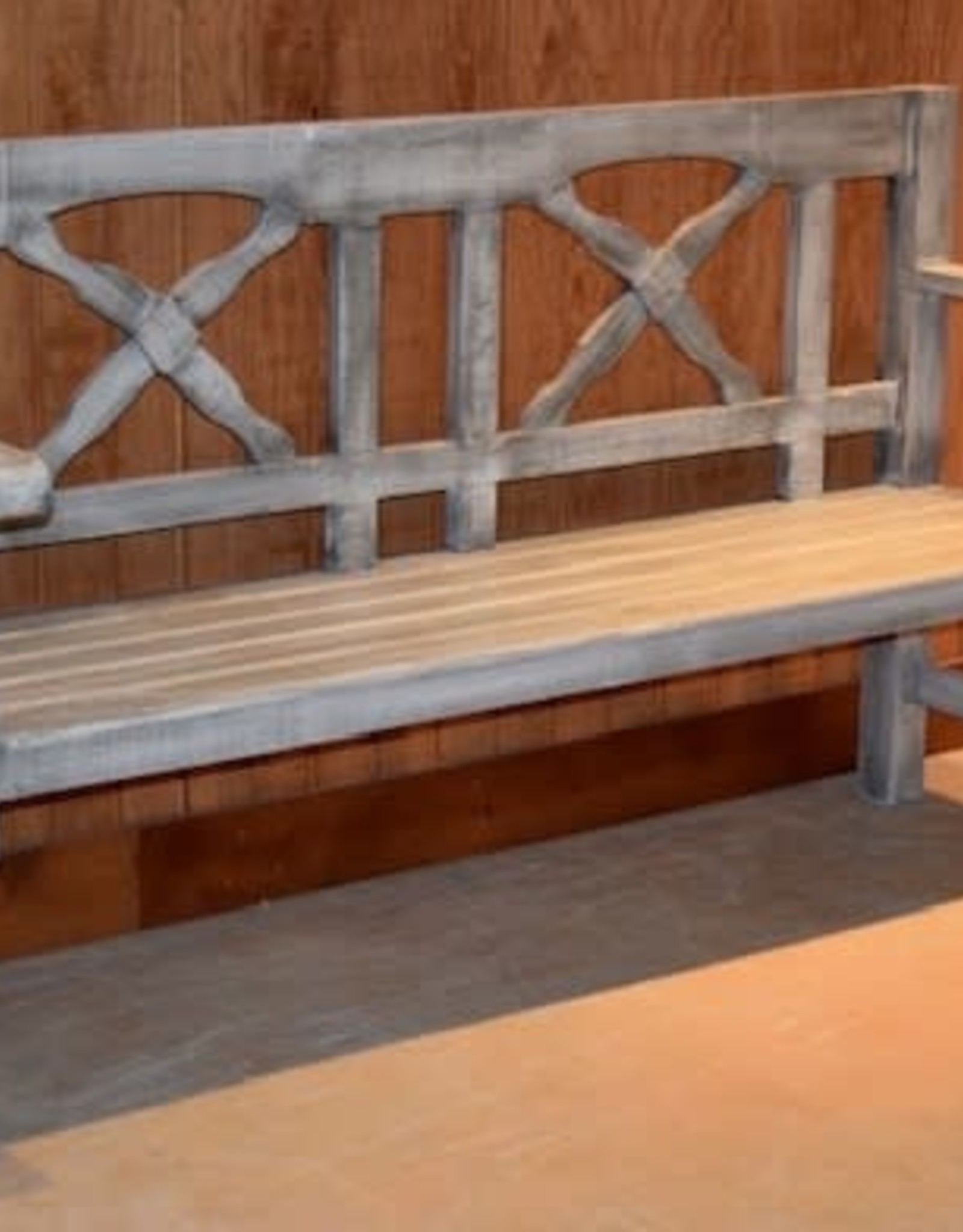 Texas Rustic Aspen Gray Bench