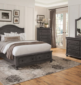 American Woodcrafters Queen Hyde Park Sleigh Storage Bed