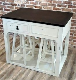 Texas Rustic White Rustic Island with 4 Stools