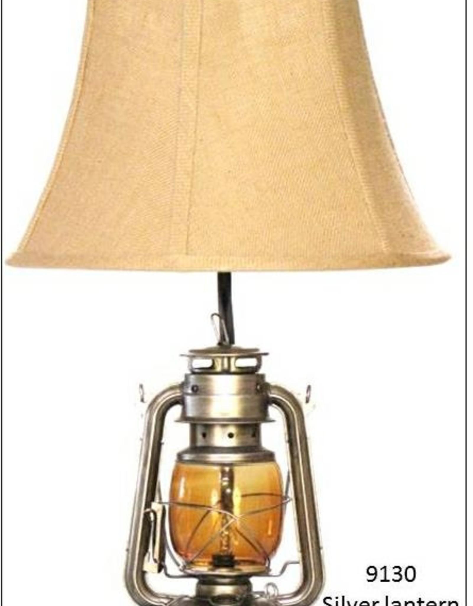 H&H 9130 Weathered Silver Lantern Lamp
