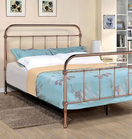 FOA Rose Gold Queen Iron Bed