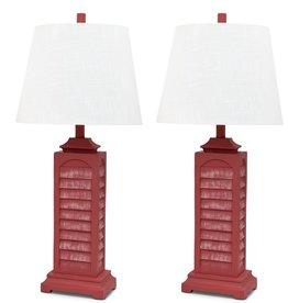 "LUX LIGHTING 29.5"" Light Red Coastal Shutter Table Lamp"