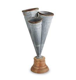 MUD PIE Conical Tin Triple Vase