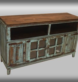 Texas Rustic MT-COM 8 Hacienda TV Stand Antique Turquoise