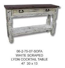 Rustic Heritage White Scrap Lyon Sofa Table