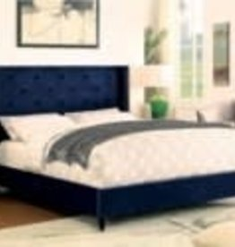 FOA Royal Blue Upholstered Queen Bed
