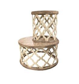 Vintage Furniture LLC Brocade End Table (Nero White)
