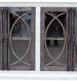 Vintage Furniture LLC Fish Door Console w/glass (Nero White)
