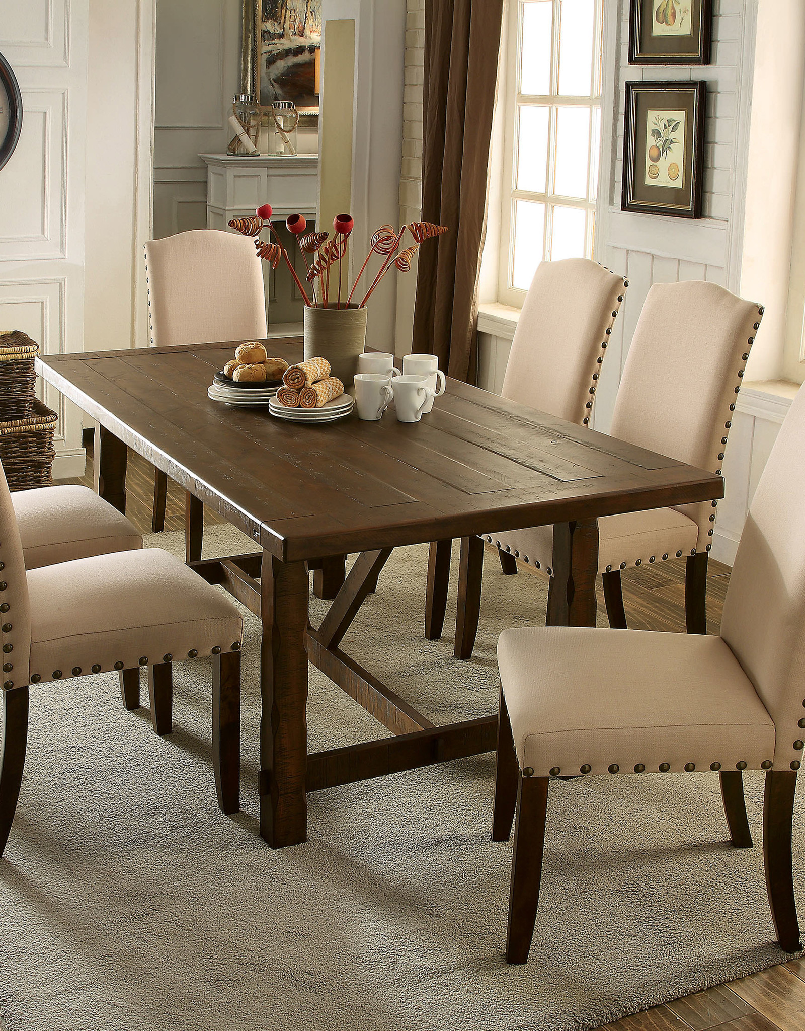 FOA Brentford Dining Table w/6 Chairs