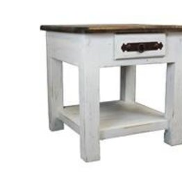 LMT Imports Campo White Rustic End Table