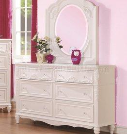 Coaster White Princess Dresser+Mirror