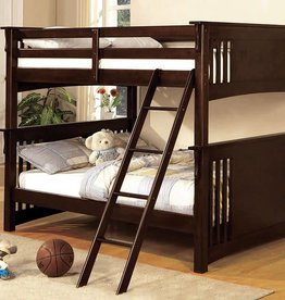 FOA Full/Full Walnut Bunkbed