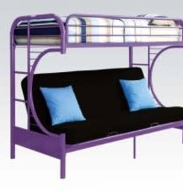 Acme Twin Futon Metal Bunkbed Purple