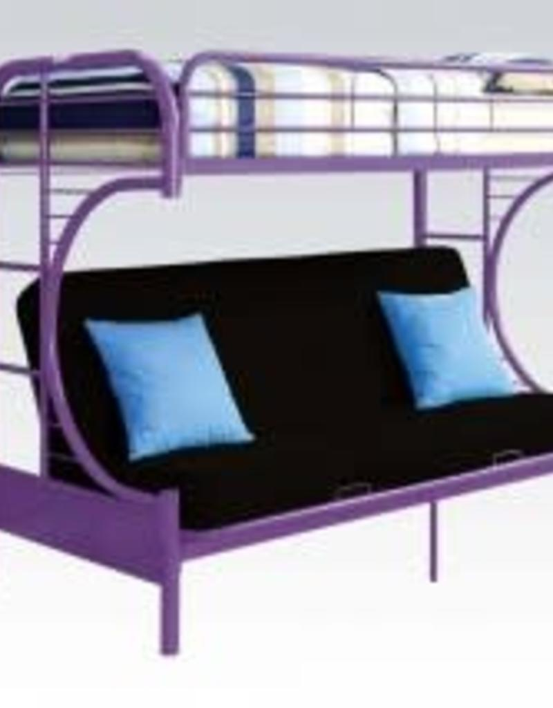 Acme Twin Futon Metal Bunkbed Purple