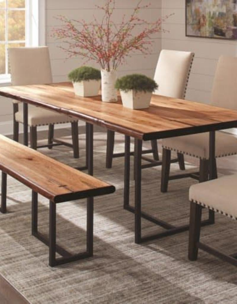 Coaster Suthers Rustic Live Edge Dining Table With 4 Parson Chair And Bench