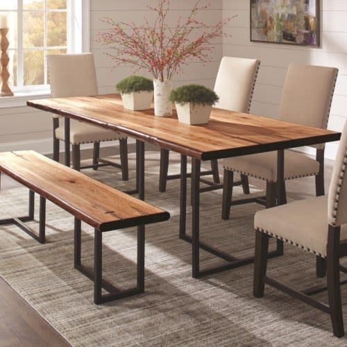 Tremendous Suthers Rustic Live Edge Dining Table With 4 Parson Chair And Bench Machost Co Dining Chair Design Ideas Machostcouk