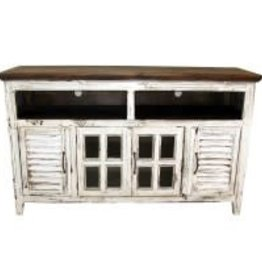 Texas Rustic MO-COM 65 TV Stand Shutter Antique White
