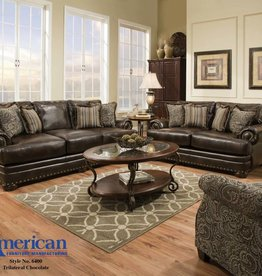American Furniture Tilateral Chocolate Sofa and Love