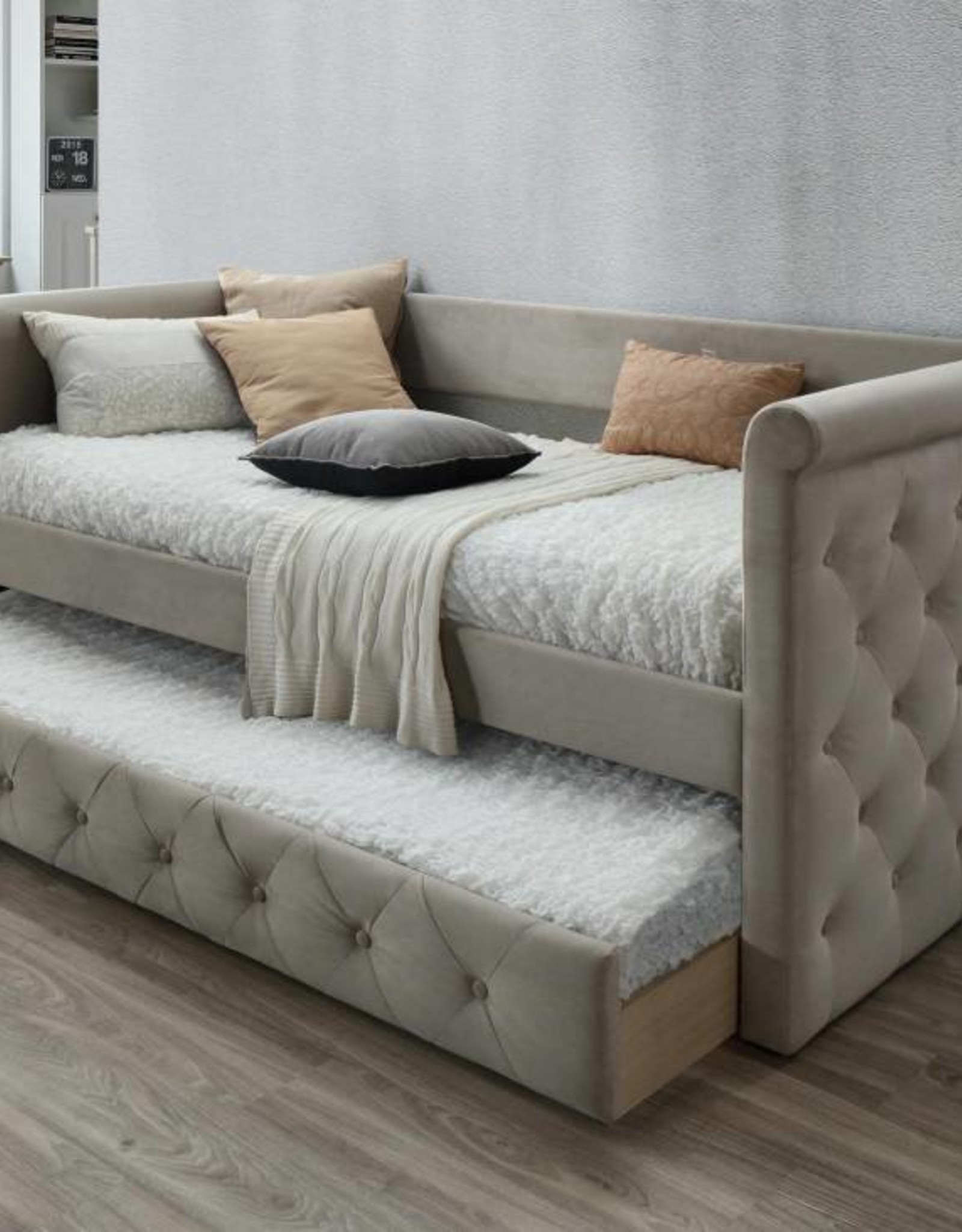 - Gabriel Taupe Tufted Upholstered Daybed With Trundle - R&B Furniture