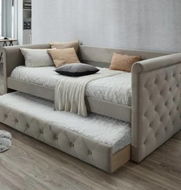 MYCO Gabriel Taupe Tufted Upholstered Daybed with Trundle