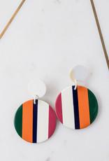 Adelante Orange Stripe Circle Earring