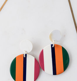 Adelante Orange Stripe Circle Earring