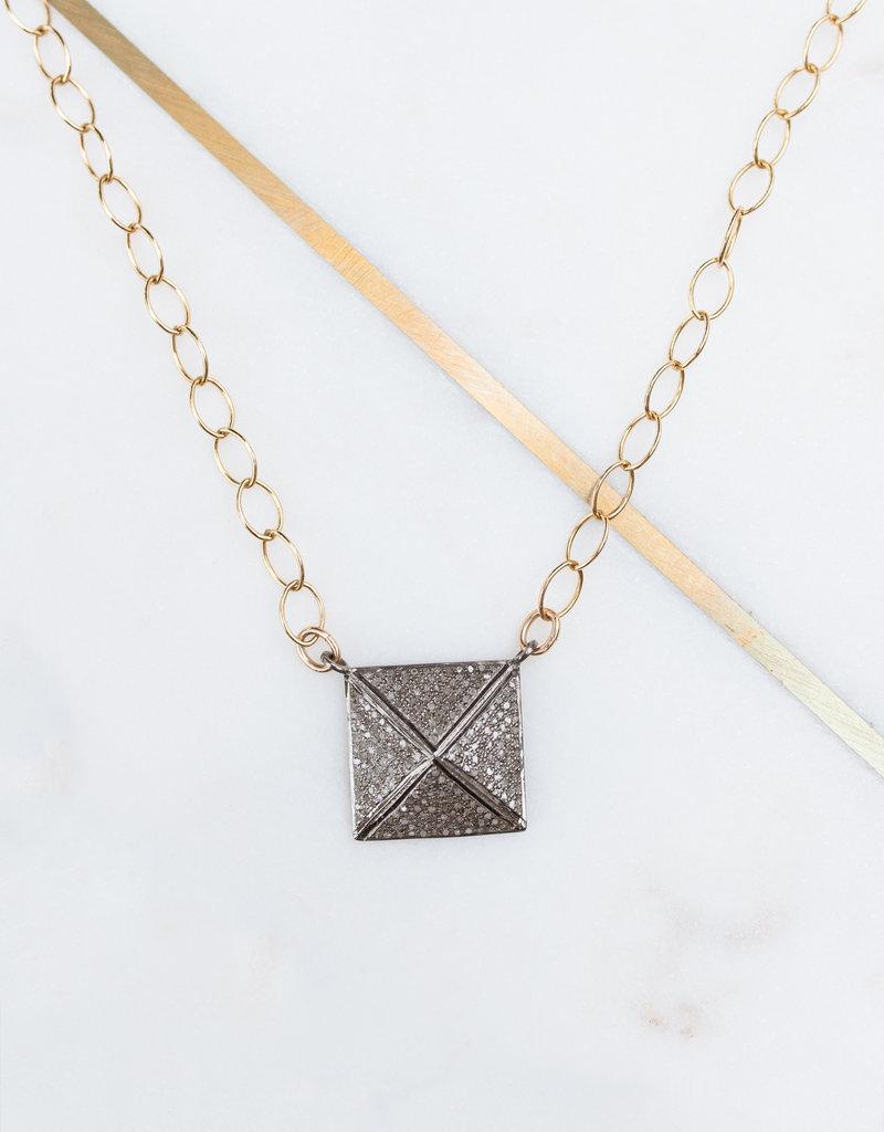 Adelante Pave Diamond Pyramid Necklace